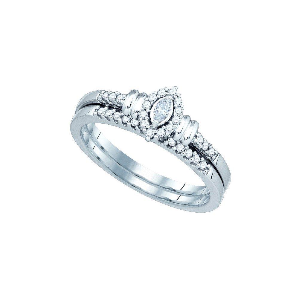 Natural 0.20 ctw Diamond Bridal Set Ring 10K White Gold