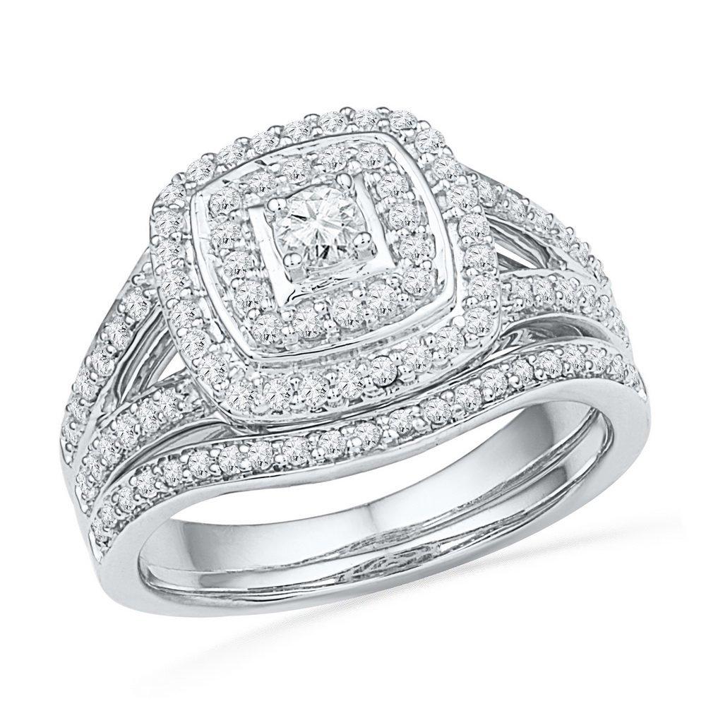 Genuine 0.62 CTW Diamond Bridal Ring 10KT White Gold -