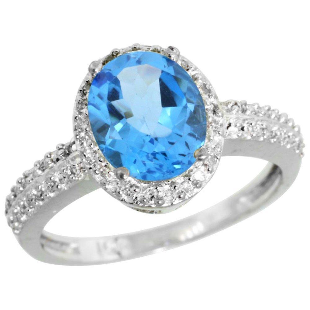 Natural 1.91 ctw Swiss-blue-topaz & Diamond Engagement