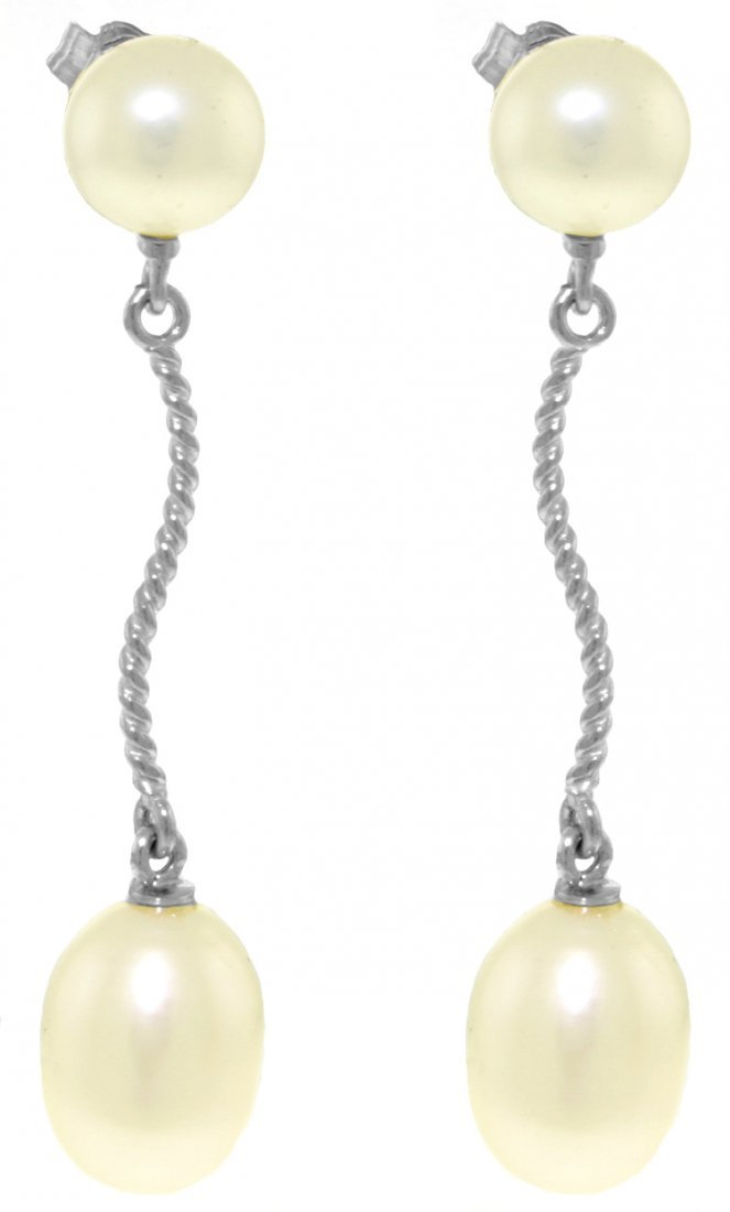 Genuine 10 ctw Pearl Earrings Jewelry 14KT White Gold -