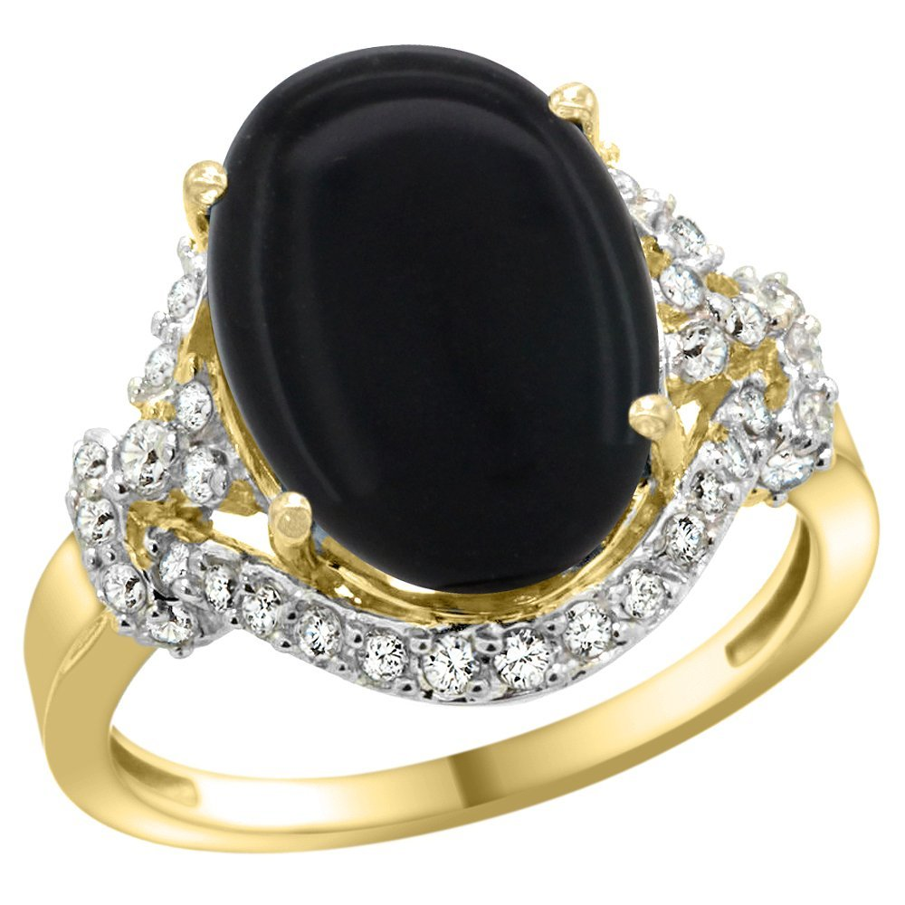 Natural 3.63 ctw onyx & Diamond Engagement Ring 14K