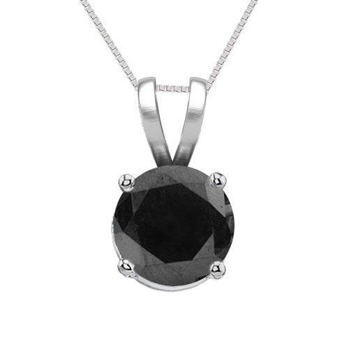 14K White Gold Jewelry 0.50 ct Black Diamond Solitaire