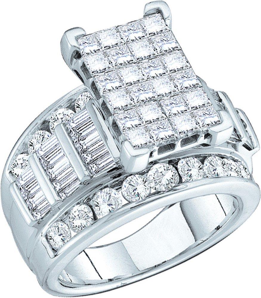 Genuine 5.0 CTW Diamond Ladies Ring 14KT White Gold -