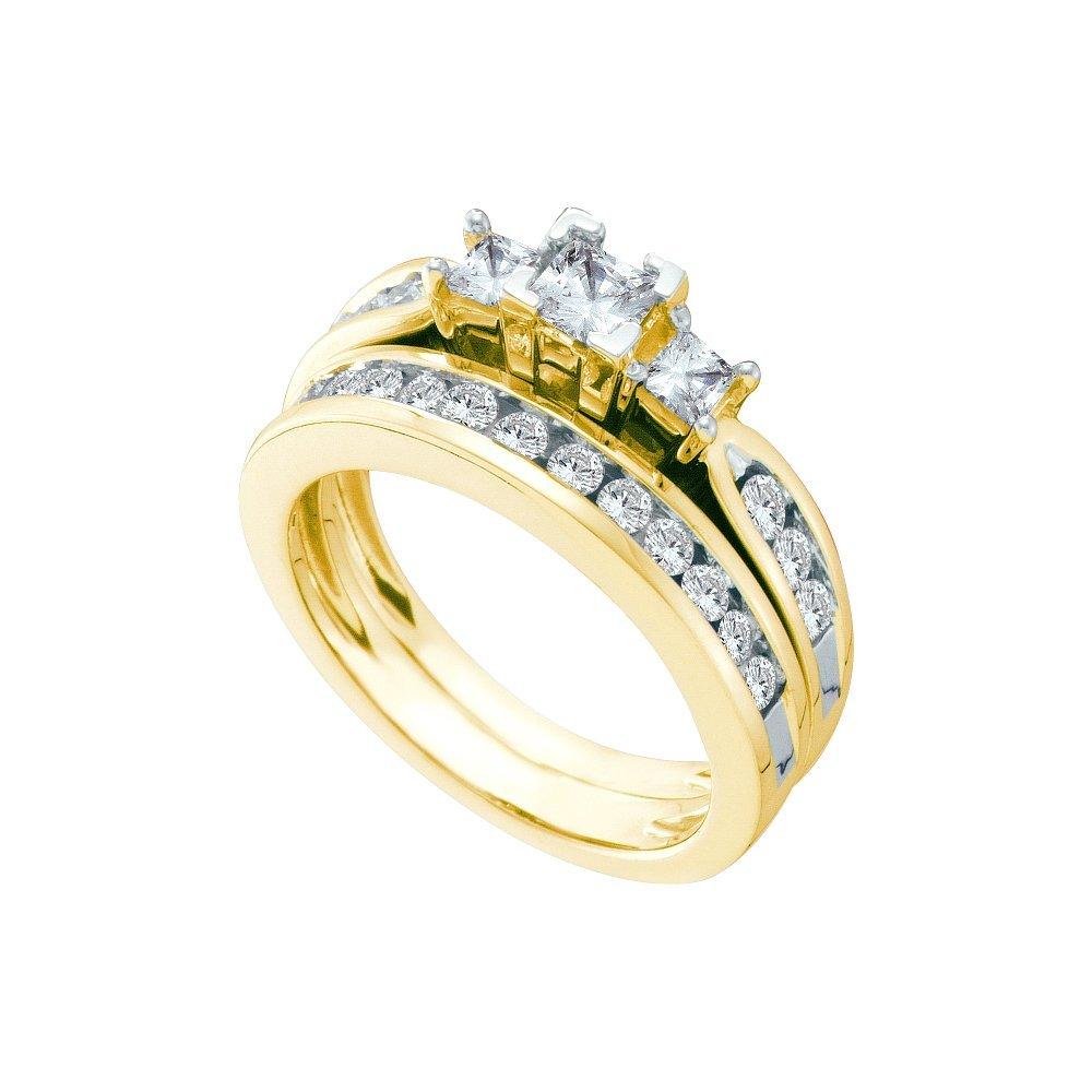 Natural 1.0 ctw Diamond Bridal Ring 14K Yellow Gold -