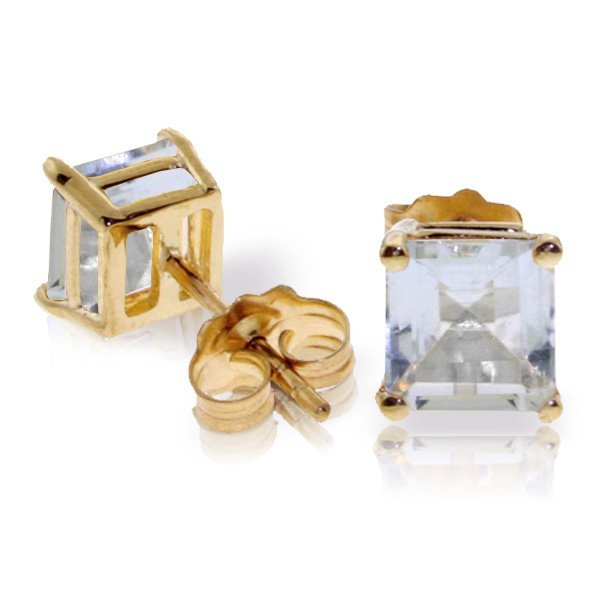 Genuine 1.75 ctw Aquamarine Earrings Jewelry 14KT White