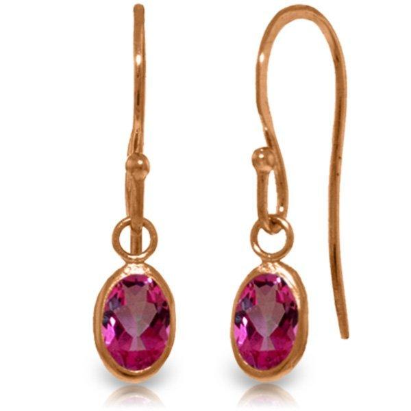 Genuine 1 ctw Pink Topaz Earrings Jewelry 14KT Rose