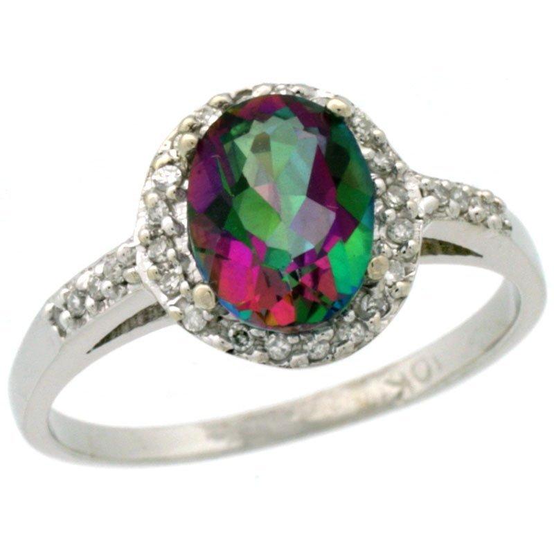 Natural 1.3 ctw Mystic-topaz & Diamond Engagement Ring