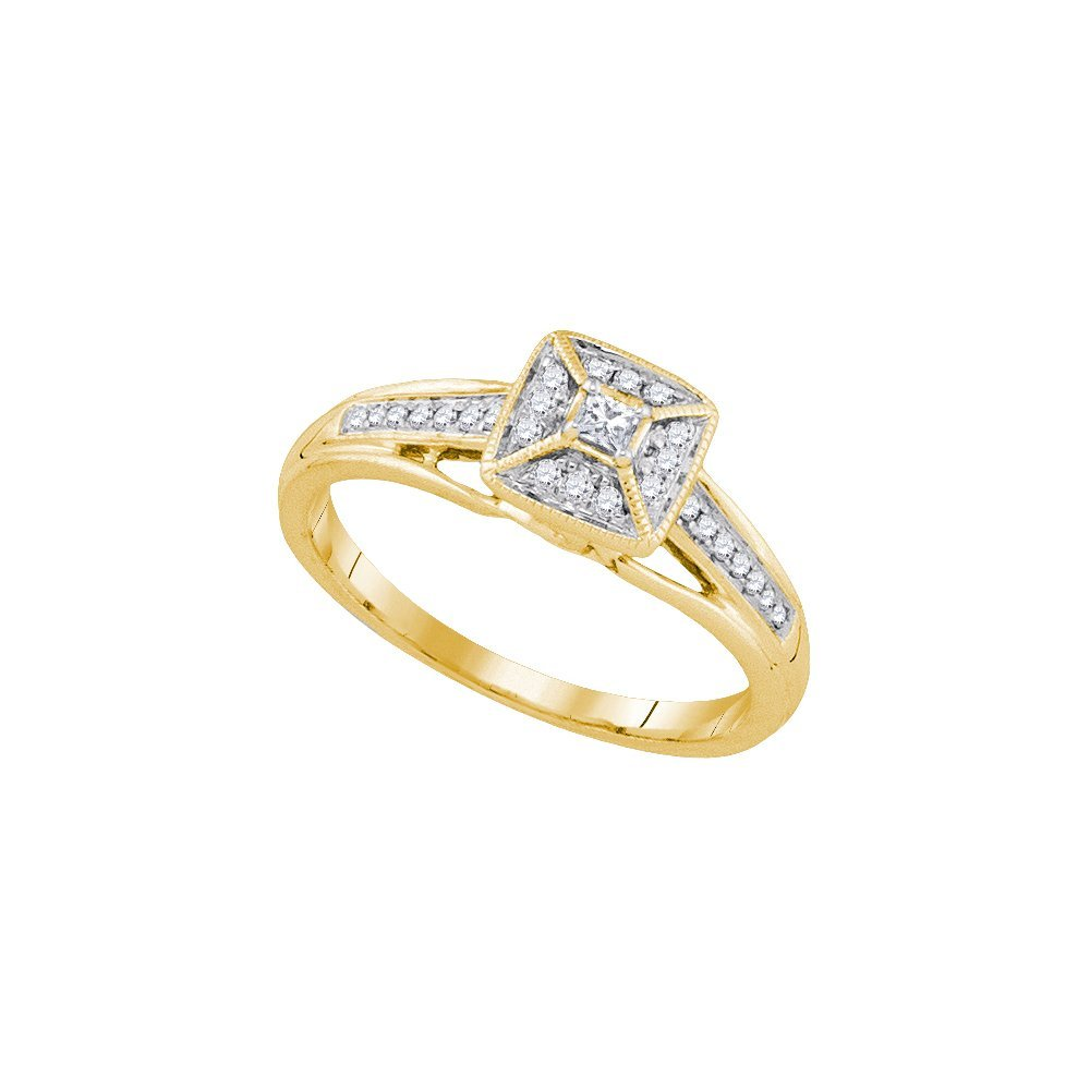 Natural 0.17 ctw Diamond Bridal Ring 14K Yellow Gold -