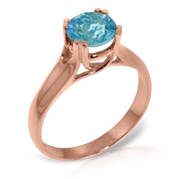 Genuine 1.10 ctw Blue Topaz Ring Jewelry 14KT Rose Gold