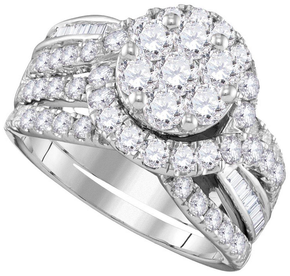 Genuine 2.50 CTW Diamond Bridal Set Ring 14KT White