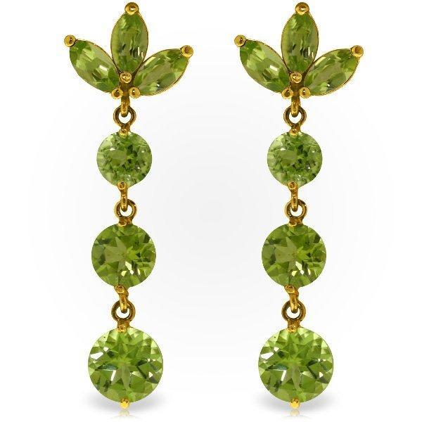 Genuine 8.7 ctw Peridot Earrings Jewelry 14KT Yellow