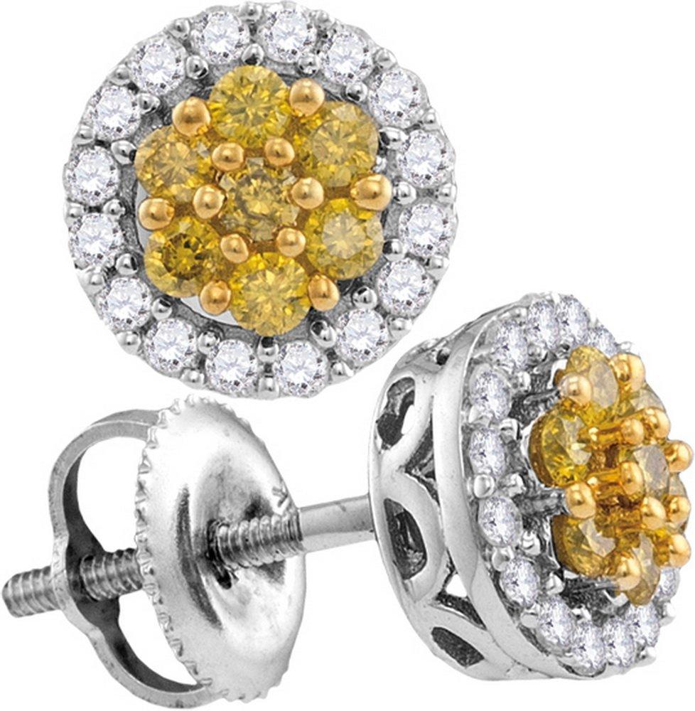 Genuine 0.50 CTW White & Yellow Diamond Earrings 10KT
