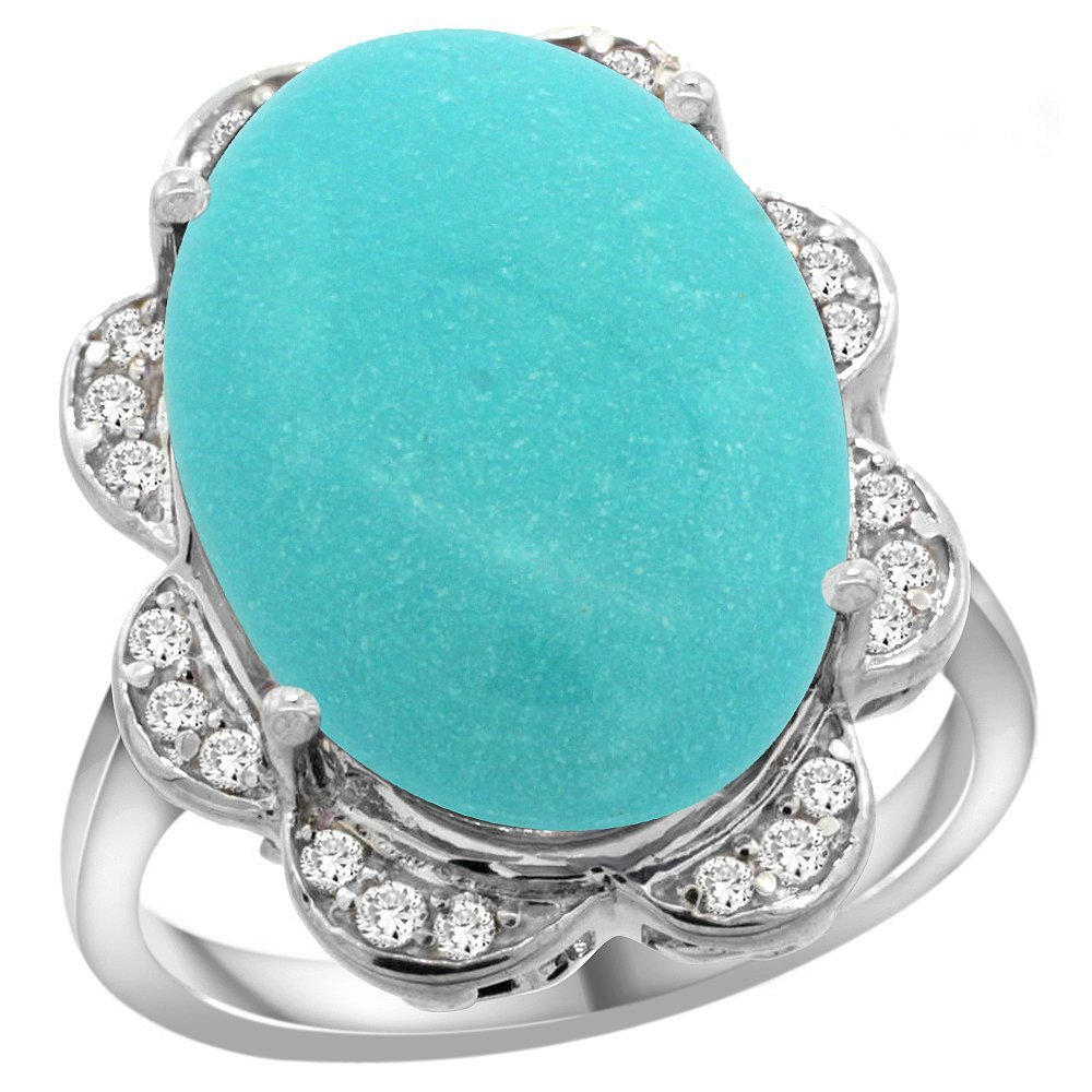 Natural 13.83 ctw turquoise & Diamond Engagement Ring