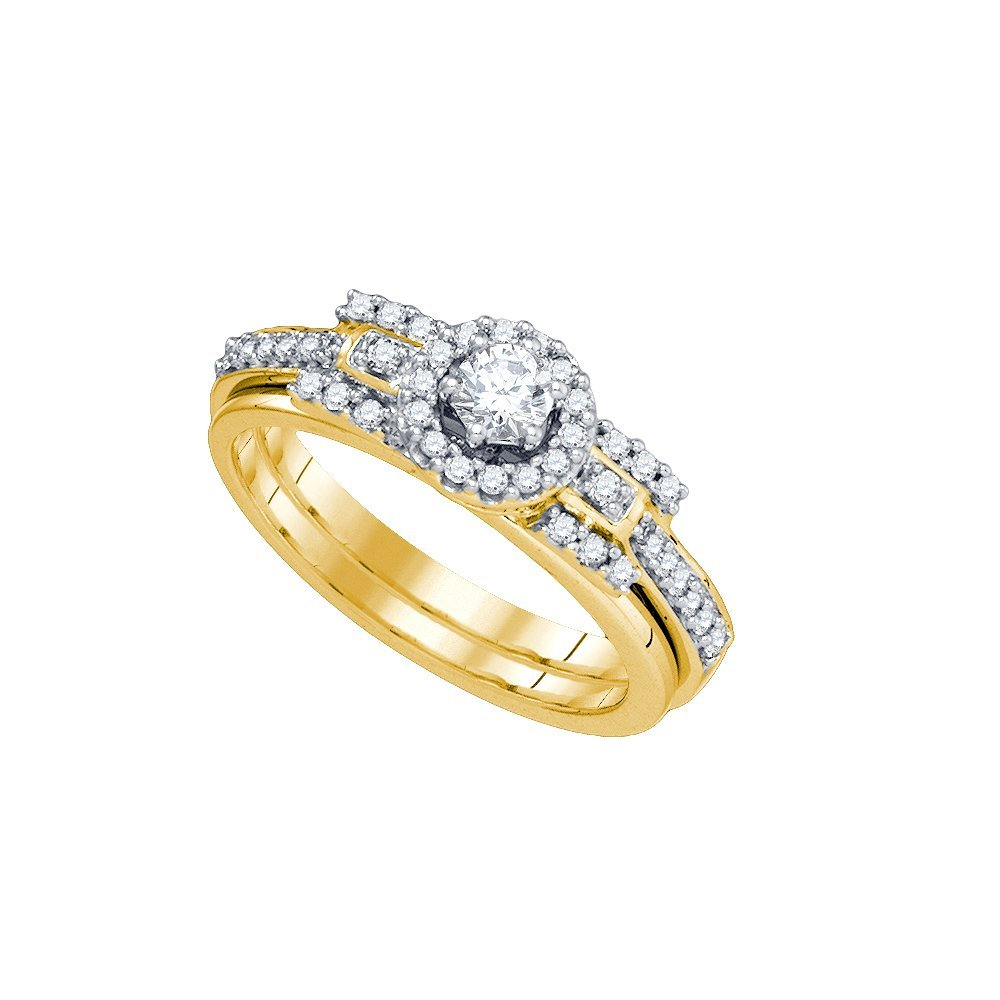 Natural 0.50 ctw Diamond Bridal Set Ring 14K Yellow