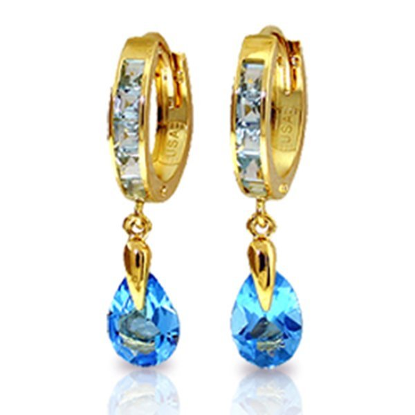 Genuine 4.2 ctw Blue Topaz Earrings Jewelry 14KT Yellow