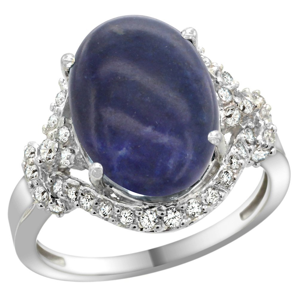 Natural 4.91 ctw lapis-lazuli & Diamond Engagement Ring