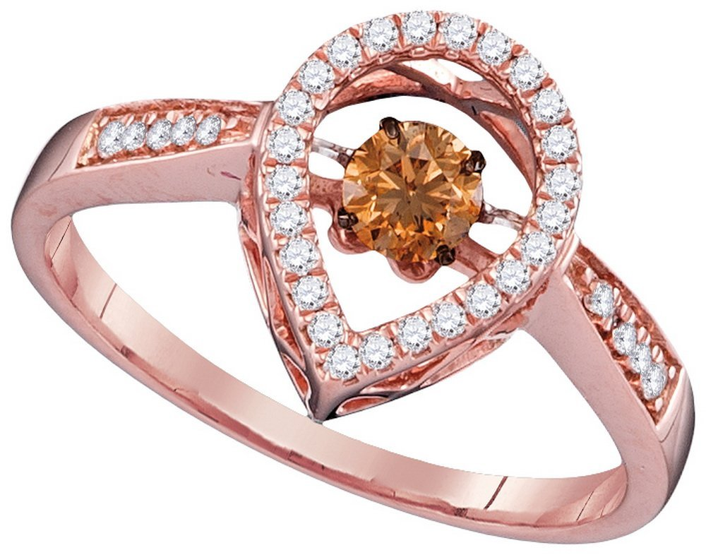 Genuine 0.35 CTW White & Cognac Diamond Ladies Ring