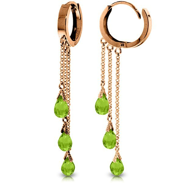 Genuine 4.8 ctw Peridot Earrings Jewelry 14KT Rose Gold