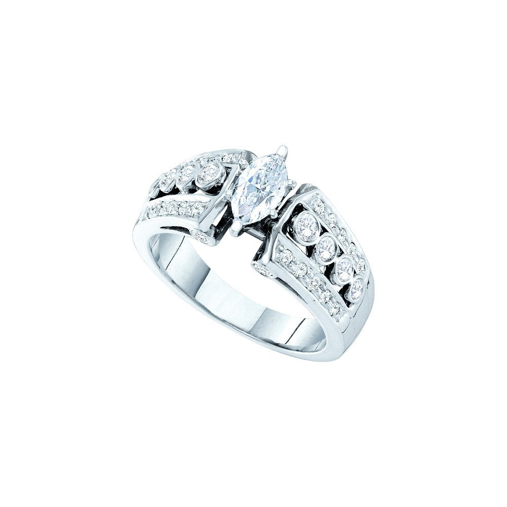 Natural 1.0 ctw Diamond Bridal Ring 14K White Gold -