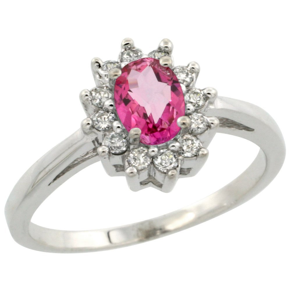 Natural 0.67 ctw Pink-topaz & Diamond Engagement Ring