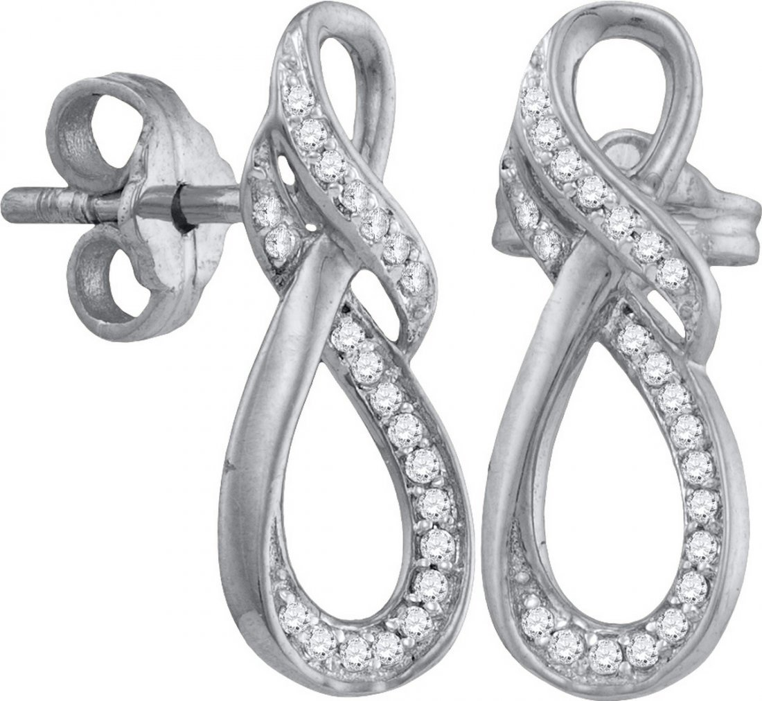 Genuine 0.15 CTW Diamond Earrings 10KT White Gold -