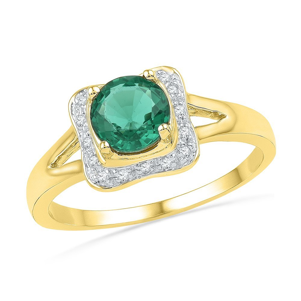 Genuine 0.83 CTW Emerald & Diamond Ladies Ring 10KT