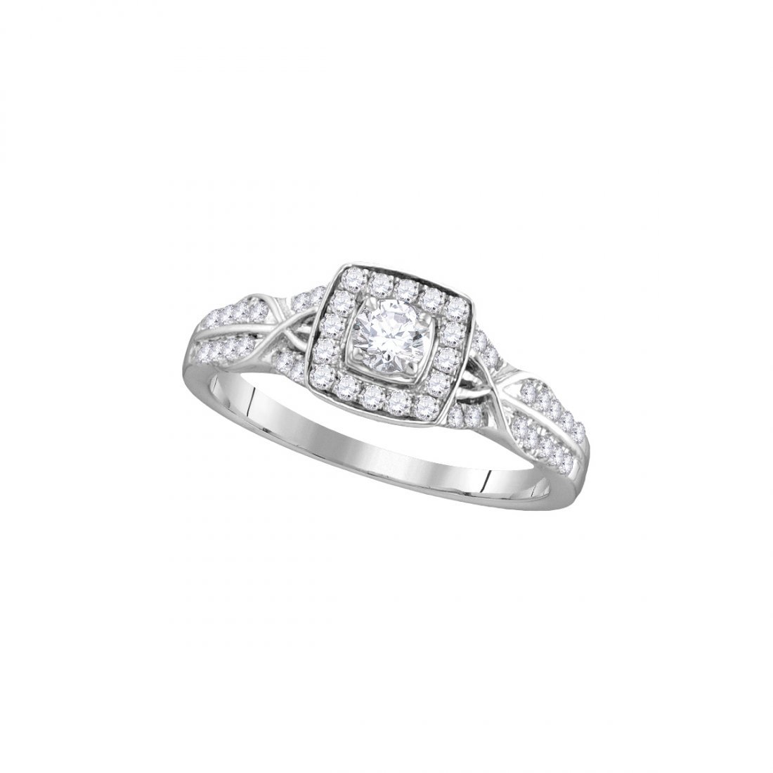 Natural 0.50 ctw Diamond Bridal Ring 14K White Gold -