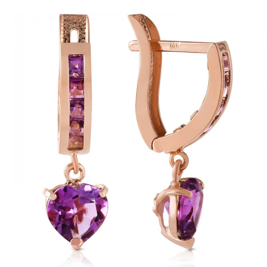Genuine 3.2 ctw Amethyst Earrings Jewelry 14KT Rose