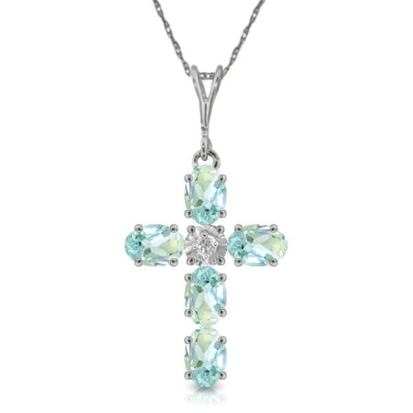 Genuine 1.75 ctw Aquamarine & Diamond Necklace Jewelry