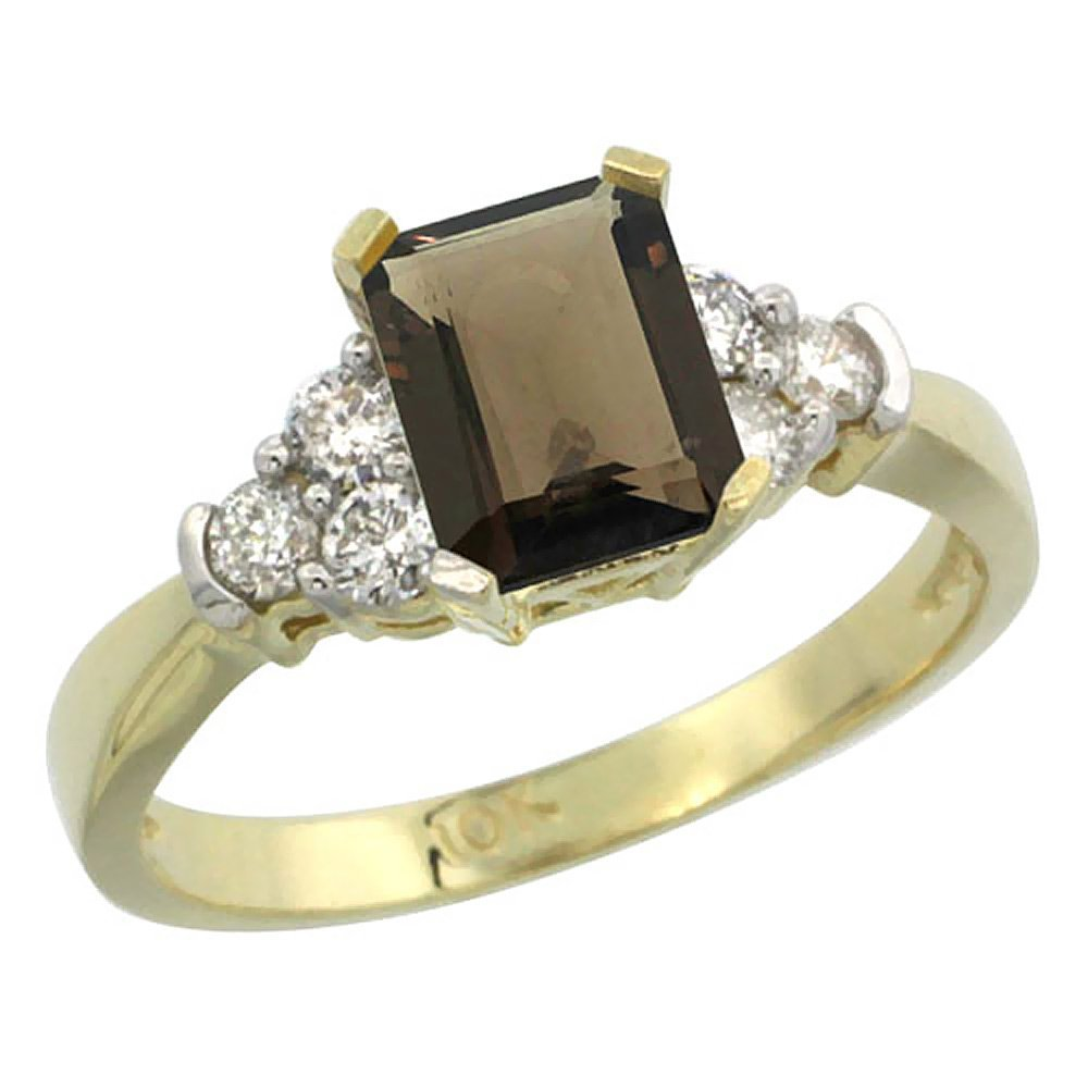 Natural 1.48 ctw smoky-topaz & Diamond Engagement Ring