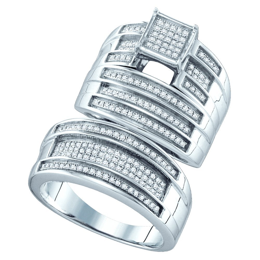 Genuine 0.62 CTW Diamond Trio Set Ring White Rhodium