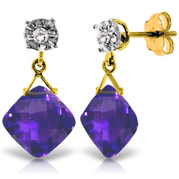 Genuine 17.56 ctw Amethyst & Diamond Earrings Jewelry