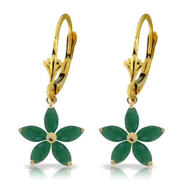 Genuine 2.8 ctw Emerald Earrings Jewelry 14KT Yellow