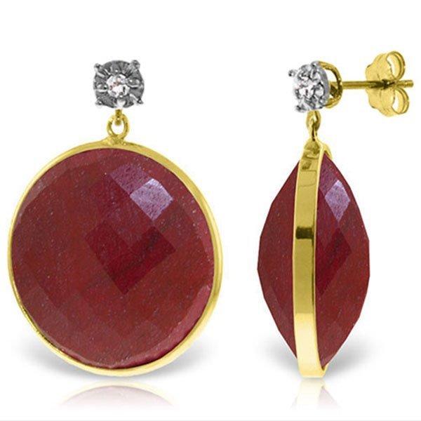 Genuine 46.06 ctw Ruby & Diamond Earrings Jewelry 14KT