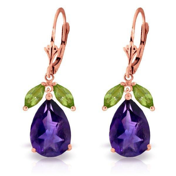 Genuine 13 ctw Amethyst & Peridot Earrings Jewelry 14KT