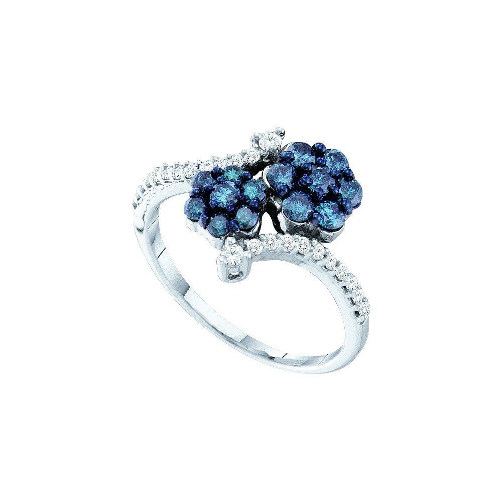 Genuine 0.75 CTW White & Blue Diamond Ladies Ring 10KT
