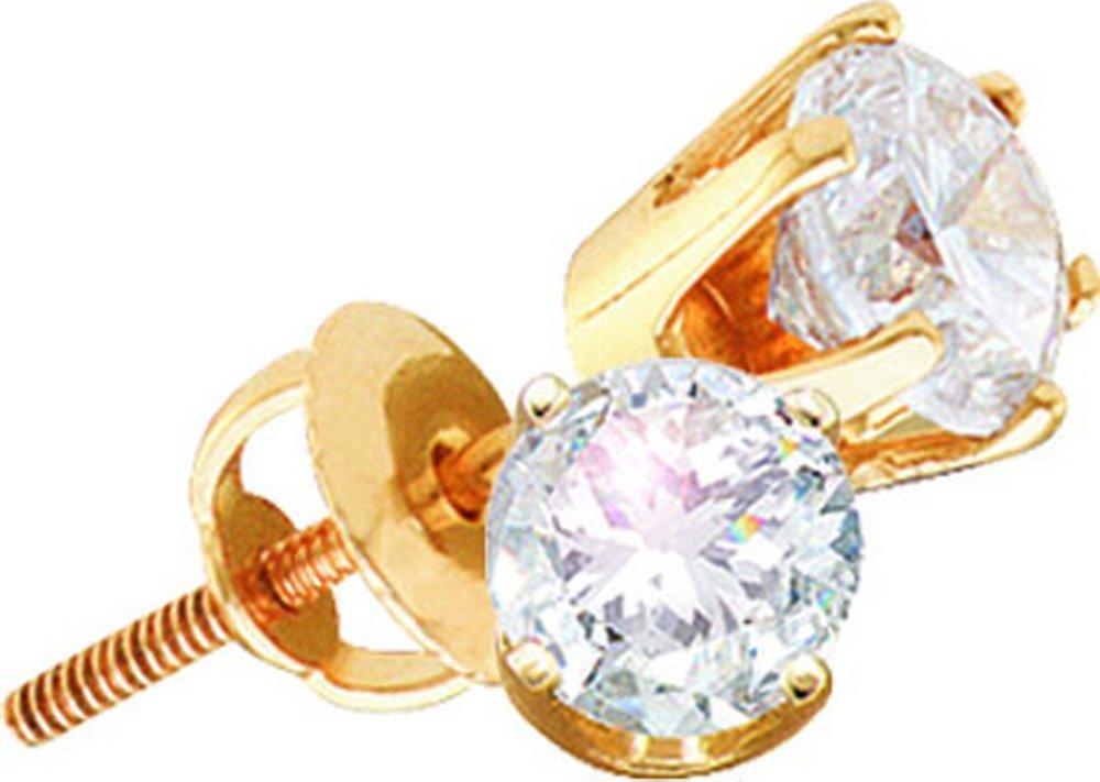 Genuine 1 CTW Diamond Stud Earrings 14KT Yellow Gold -