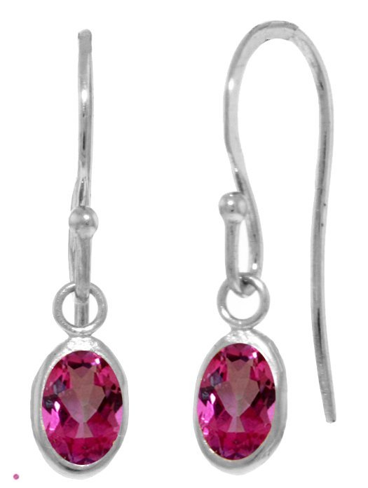 Genuine 1 ctw Pink Topaz Earrings Jewelry 14KT White
