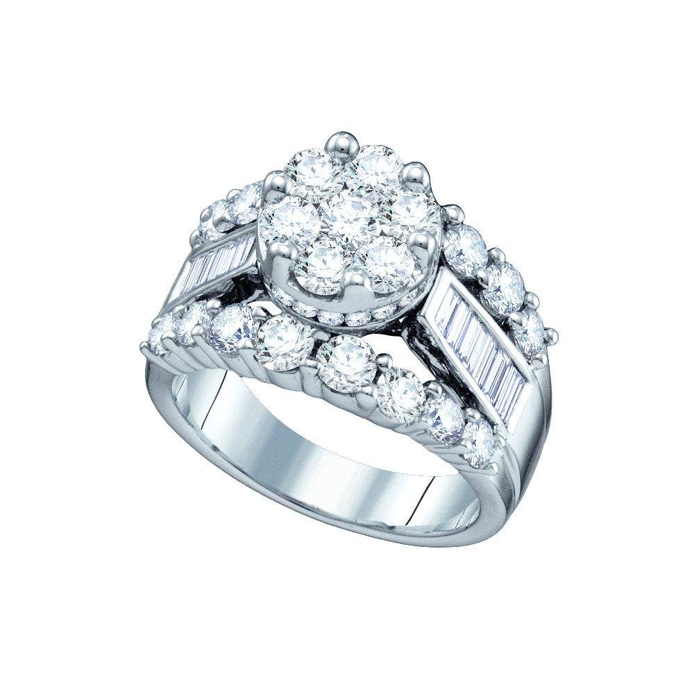 Genuine 3.0 CTW Diamond Ladies Ring 14KT White Gold -