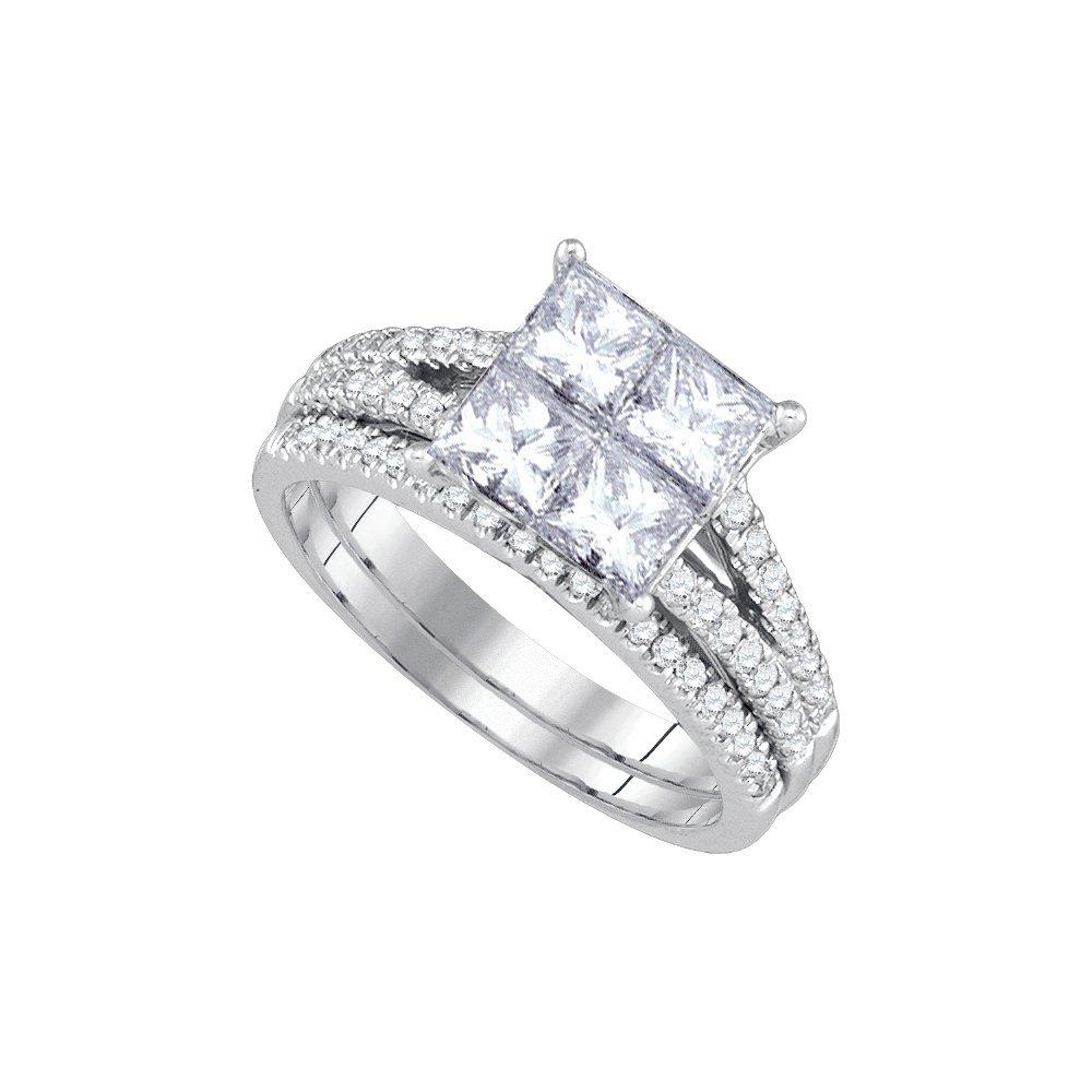 Natural 2.0 ctw Diamond Bridal Set Ring 14K White Gold