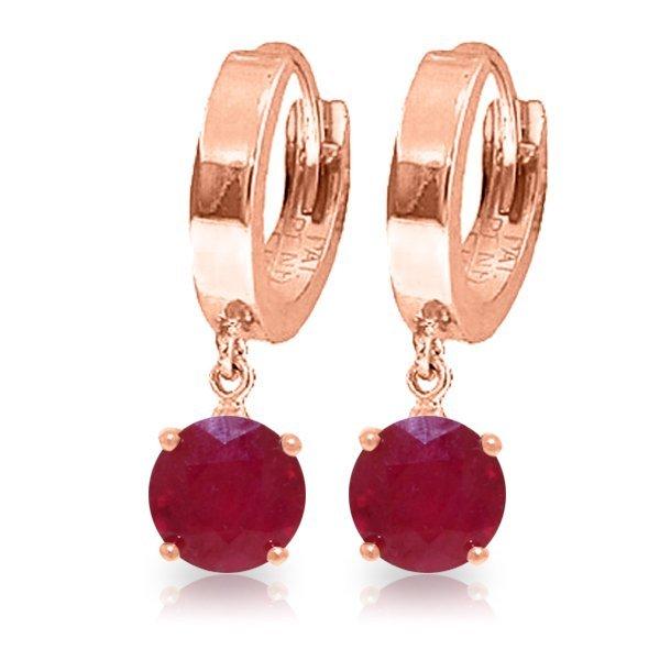 Genuine 2.5 ctw Ruby Earrings Jewelry 14KT Rose Gold -