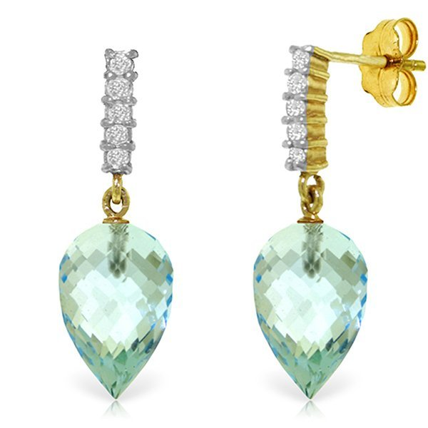 Genuine 22.65 ctw Blue Topaz & Diamond Earrings Jewelry