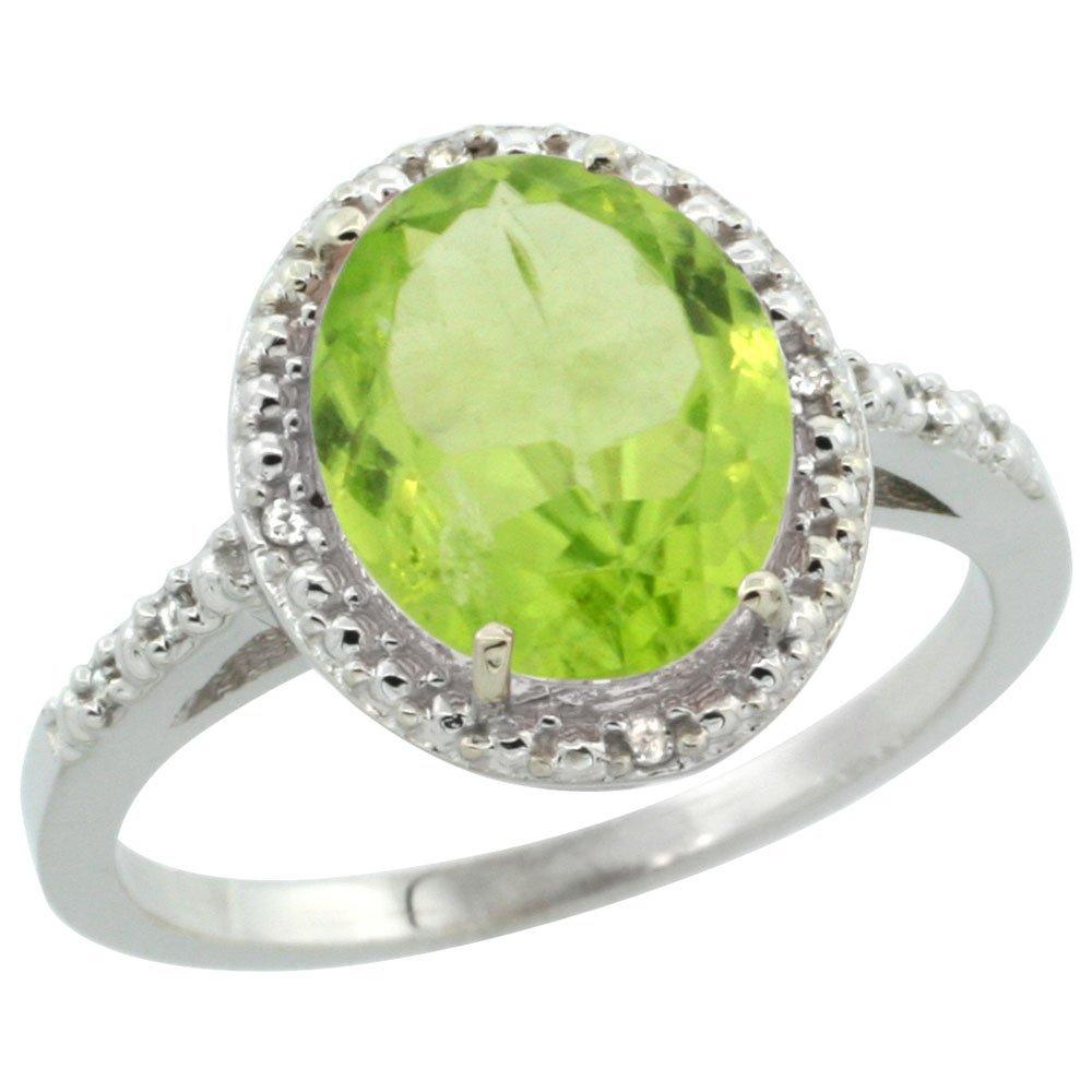 Natural 2.8 ctw Peridot & Diamond Engagement Ring 14K