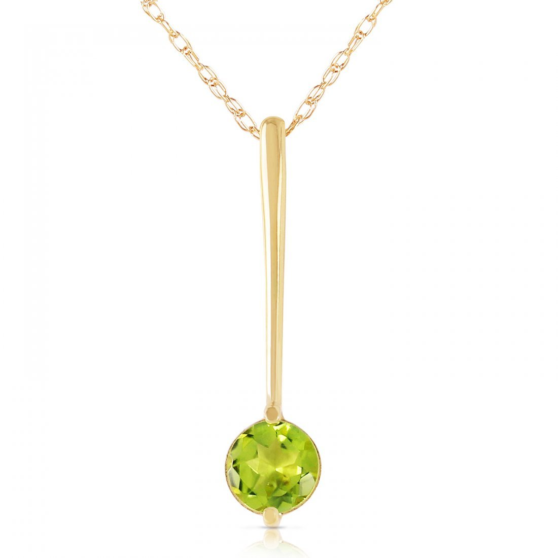 Genuine 0.65 ctw Peridot Necklace Jewelry 14KT Yellow