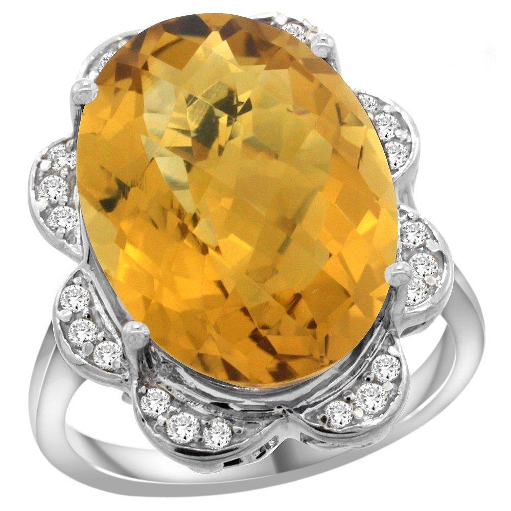 Natural 13.83 ctw quartz & Diamond Engagement Ring 14K