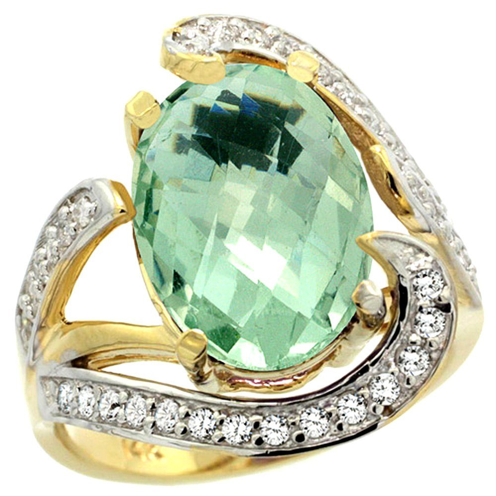 Natural 6.22 ctw green-amethyst & Diamond Engagement