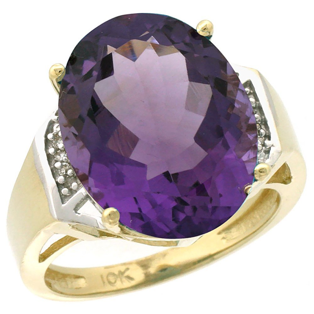 Natural 11.02 ctw Amethyst & Diamond Engagement Ring