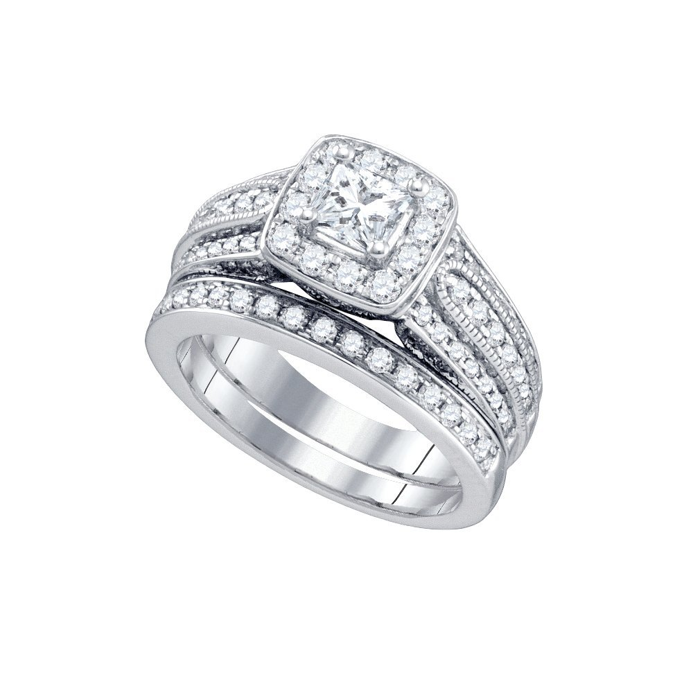 Natural 1.50 ctw Diamond Bridal Set Ring 14K White Gold