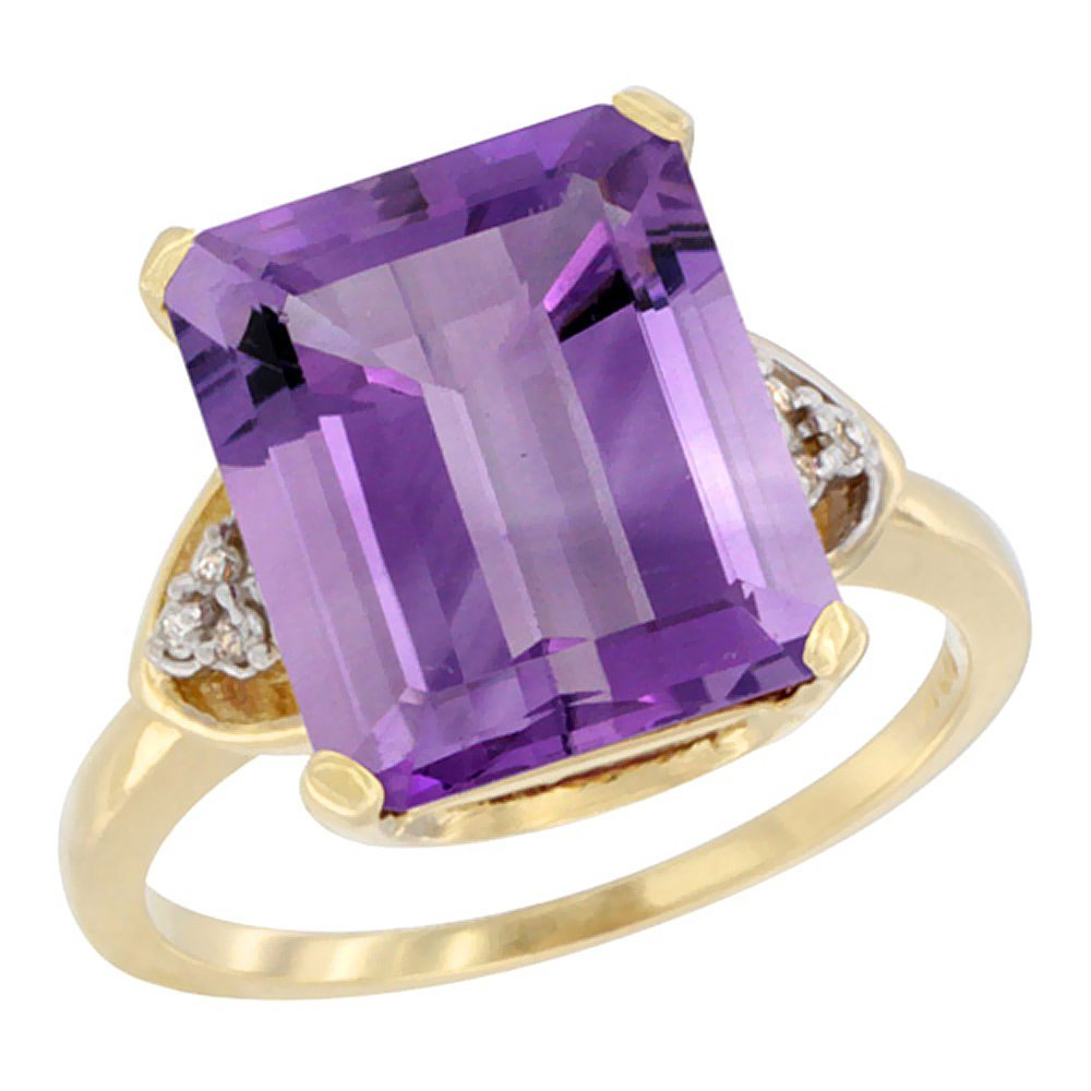 Natural 5.44 ctw amethyst & Diamond Engagement Ring 10K