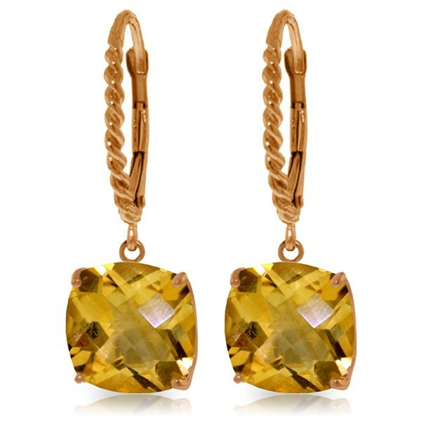 Genuine 7.2 ctw Citrine Earrings Jewelry 14KT Rose Gold